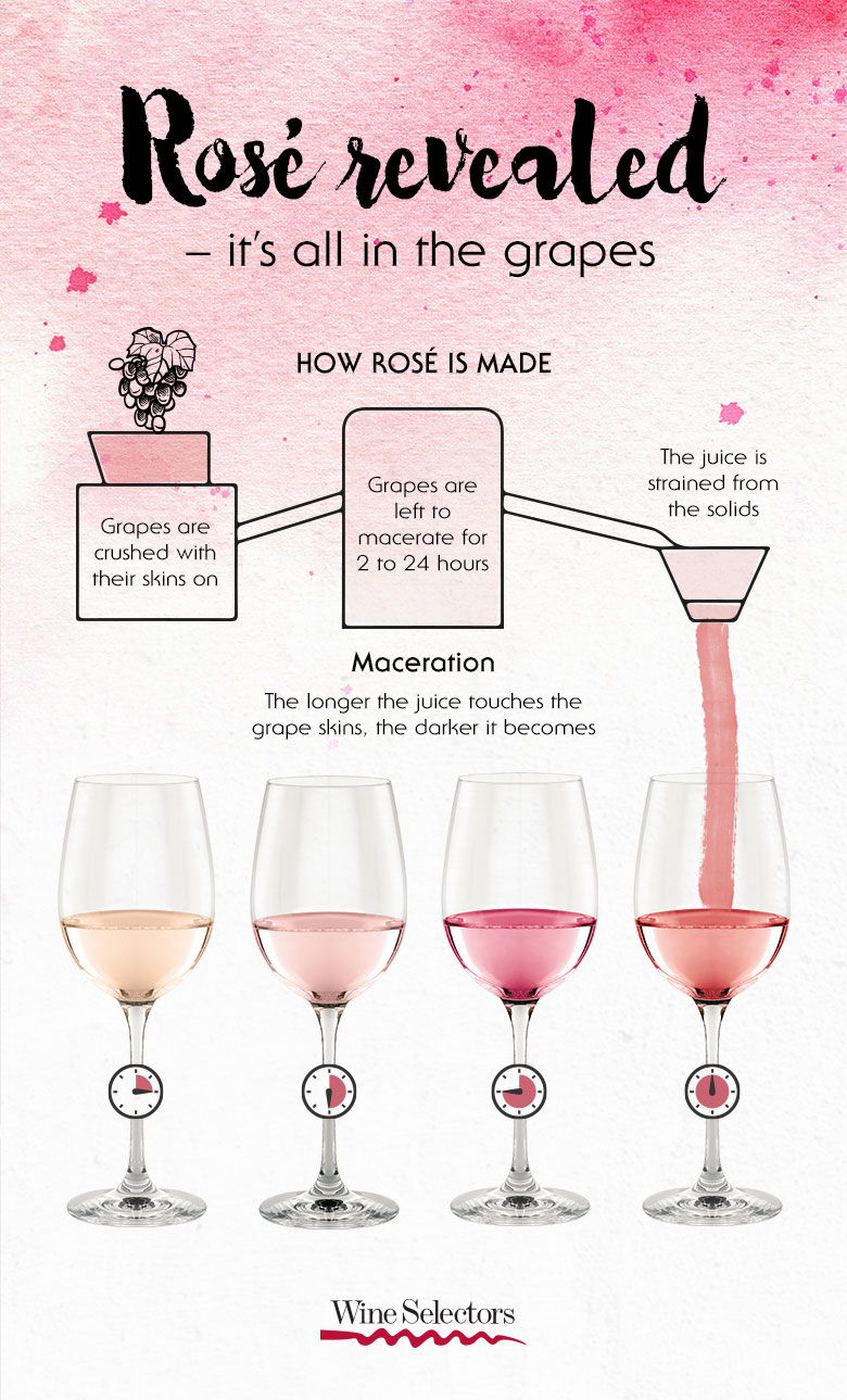 Rose wine infographic on how it is made